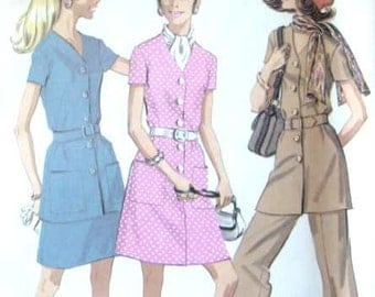 Vintage McCalls 2232 Belted Dress Skirt Pants and Scarf  Sewing Pattern 36 Bust Pantsuit