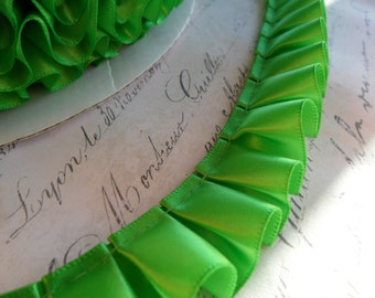 Apple Green Satin Box Pleat  Ruffle Trim 7/8 inch