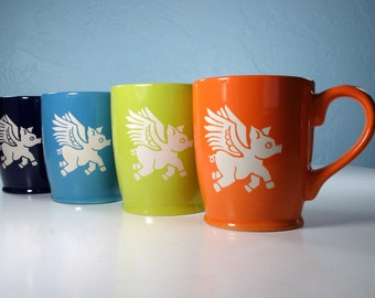 Flying Pig Mug - winged pig coffee cup - Choose Your Color