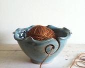 yarn bowl, knitting bowl,  Robin Egg blue Knitting bowl, pottery yarn bowl