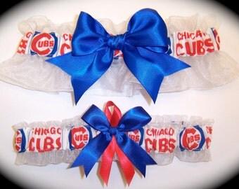 Chicago Cubs Wedding Garter Set     Handmade   Keepsake and Toss Bridal rore1