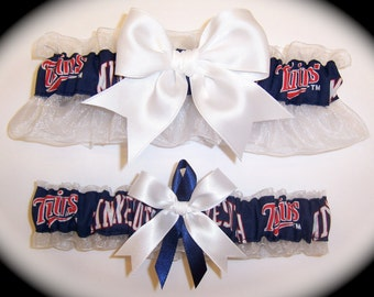 Handmade Wedding Garter Set Minnesota Twins Keepsake and Toss Bridal wn1