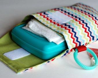 SALE Zig Zag Chevron- Diaper and Wipes Stroller Organizer - Link Loop Diaper Bag