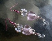 Valentine Pink Heart Wire Wrapped Crystal Earrings