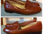 SALE // Vintage ENZO ANGIOLINI Skimmers // Caramel Brown Woven Leather // Classic Loafers Size 7M