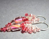 Apricot rose pink  furnace dangle bead earrings Sterling silver  Swarovski crystal clusters - Apricots