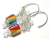 Rainbow dangle cluster earrings artisan furnace beads Sterling silver Swarovski crystal clusters Custom ear wires  GOLDEN RAINBOWS