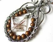 Copper Rutile Quartz Teardrop Wrapped Necklace