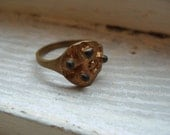 FREE SHIPPING Vintage Brass Ring Modern Industrial Artistic Design Size 9 1/2
