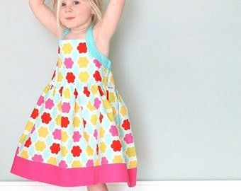 Boutique Dress Pattern - Girls Summer Halter Dress - Sewing pattern PDF