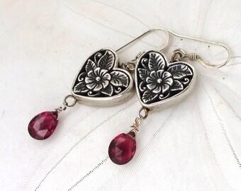 Rhodolite Garnet Earrings, January Birthstone Earrings, Floral Sterling Heart Earrings, Berry Red Gemstone Earrings, Hearts and Flowers