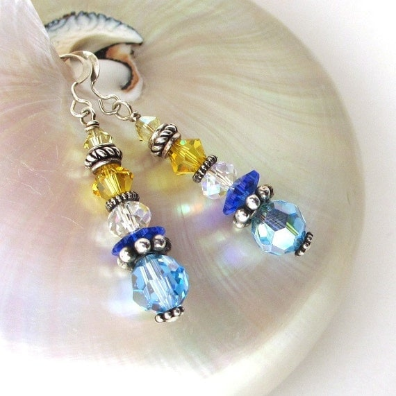 Blue Crystal Earrings, Colorful Stacked Crystal Earrings, Long Crystal Earring, Sunny Yellow Dangles, Larissa