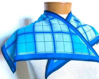 Blue Plaid Origami - a vintage Mid-Century 1950's Vera Neumann hand-painted wing-tip scarf