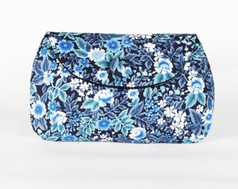 Blue & White Vintage Floral clutch purse
