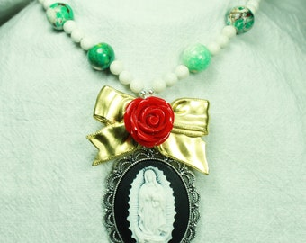 Lady of Guadalupe, Bow and Rose Necklace in Red, White and Black