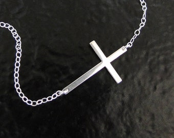 Kelly Ripa Sideways Cross Necklace in Sterling Silver, Hammered or Smooth, Small And Sleek