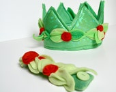 Royal Crown - Green with Red Roses (MEDIUM) (WOW030513-1) - worldofwhimm