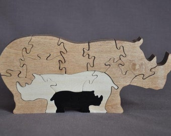 Rhino Rhinoceros 3D Animal Puzzle Wooden Toy Hand  Cut with Scroll Saw