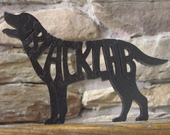 Black Lab Labrador Dog Puzzle Wooden Toy Hand Cut with Scroll Saw