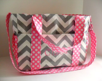 Pink Diaper Bag - Personalized Diaper Bag - Messenger Bag - Diaper Bag - Chevron diaper Bag - Girl Diaper Bag - Tote Bag