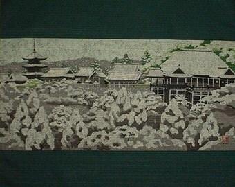 Masao Ido Kyoto 'Kiyomizu' Temple Furoshiki Japanese Fabric Cotton 48cm w/Free Insured Shipping