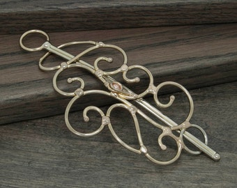Metal hair slide or hair barrette, scarf pin or shawl pin, solid nickel silver