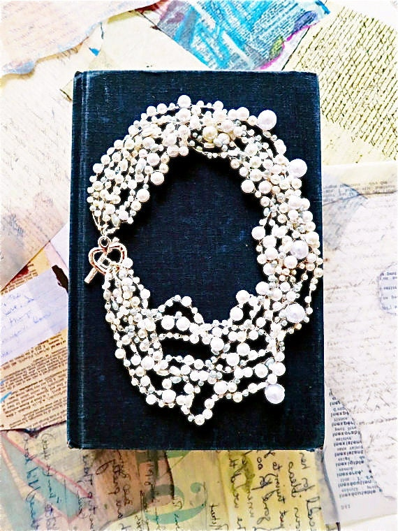 Wedding Statement Necklace, Bridal Pearl Necklace, Wedding Jewelry for Brides, Chunky, Swarovski White, Cream Bridesmaid Necklace, DOREN