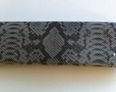 Snakeskin Clutch -- Grey Print Leather