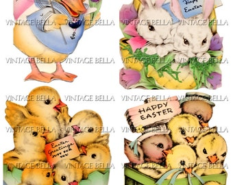 Vintage 1930s Easter Bunny Chicks and Duck Greeting Card Digital Download 337 - by Vintage Bella