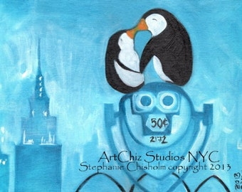 Manhattan Fog. Penguin Art Print. Two Penguins Kissing in NYC. Empire State Building. Anniversary Gift. Valentines Gift. Sapphire. Poster.