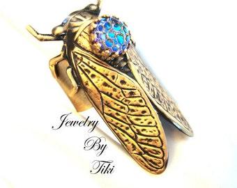 Cicada Bug Ring, Custom Handmade With Iridescent Dragon Skin Jewel, Powerful Symbolism Jewelry, Hand Made USA, Metal Bonded, Not Raw Metals