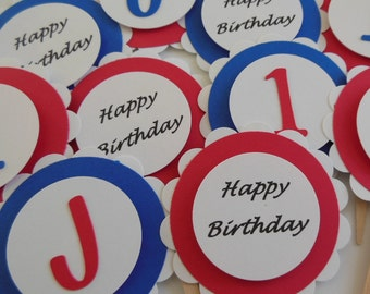 Personalized Cupcake Toppers - Happy Birthday Cupcake Toppers - Red, White and Blue - Set of 12