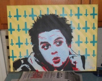Billie Joe Armstrong spray paint painting Green Day