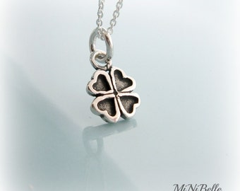 Lucky Little Four Leaf Clover Necklace. Petite Clover Necklace. Sterling Silver Lucky 4 Leaf Clover Necklace