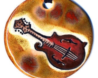 Mandolin Ceramic Necklace in Brown and Red