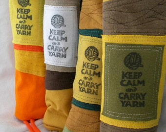 Project Bag Larger Size Keep Calm and Carry Yarn Upcyled from Tshirt Pieces and Parts Choose Colors