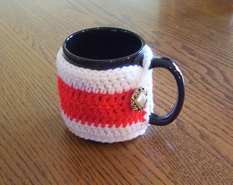 Hand Crochet Red and White Coffee Mug Cozy