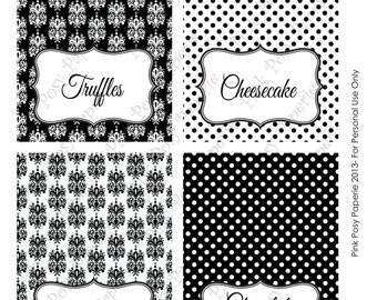 Printable Black and White Damask and Dot Wedding Buffet Tent Cards