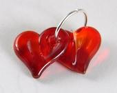Lampwork Glass Beads pairs, hearts, valentine, pink, fuchsia, rubino, freeform, handmade, sra, TRANSPARENT RED HEARTS
