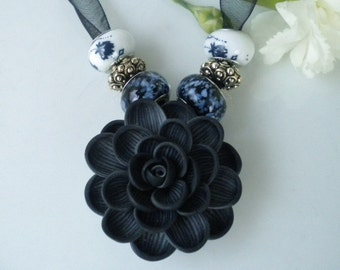 Polymer Clay Flower Necklace Black Dahlia w Lampwork Beads on Blk Organza Ribbon