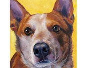 Australian Cattle Dog Art  Print Acrylic  Painting, Red Heeler on Gold, working dogs, dog paintings, dogs, herding dogs