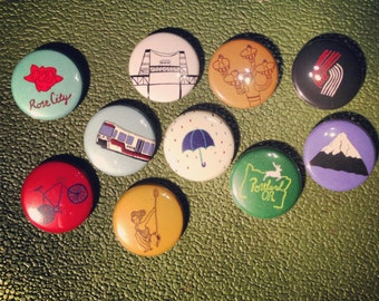 10 Portland Themed 1 inch Button Pin Set