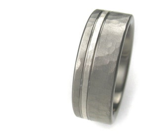 Men's Wedding Band Titanium & Silver Hammered Ring Comfort Fit