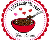 Valentine's Day Cereal Personalized Stickers, Valentine's Day Cards, Goodie Bag Tags, Gift Tags, Party Favors, Pink, Hearts  - Set of 12