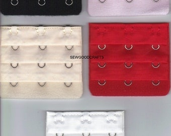 5 Bra Extender Extension 3 hook  in assorted colours