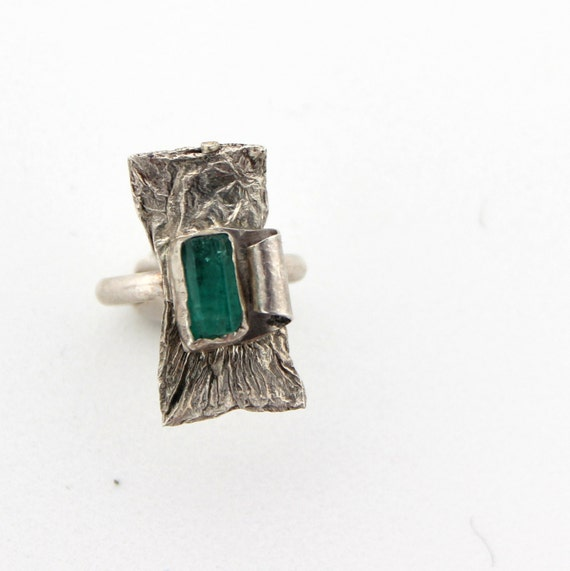 Raw gemstone ring, genuine emerald ring, statement ring, green stone ring, silver ring size 7 and a half, rough gemstone,