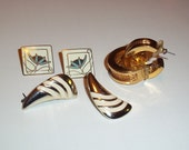 3 pair pierced earrings Brass and Enamel Vintage Jewelry Lot 80s, one pair SKYE