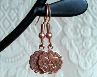 FREE SHIPPING CLEARANCE sALE - Copper Ox Fleur De Lis Earrings with French Ear Wires