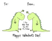 Dinosaur Valentine Boy Girl Friend Class 24 Card Pack - Classroom Valentine's Day Stationary Set