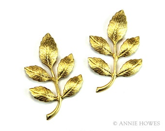 Brass Branch with Leaves Embellishment for Jewelry. Alder Leaves. meal-bb